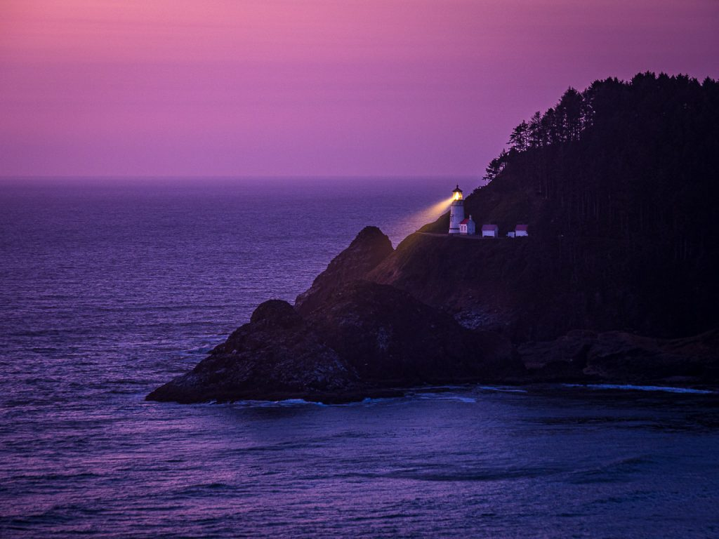 Heceta Head Lighthouse at dusk