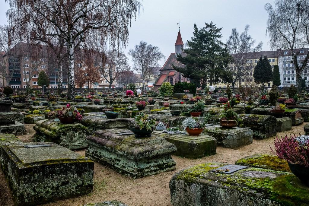 Medieval tombstones Nuremberg on Rochusfriedhof