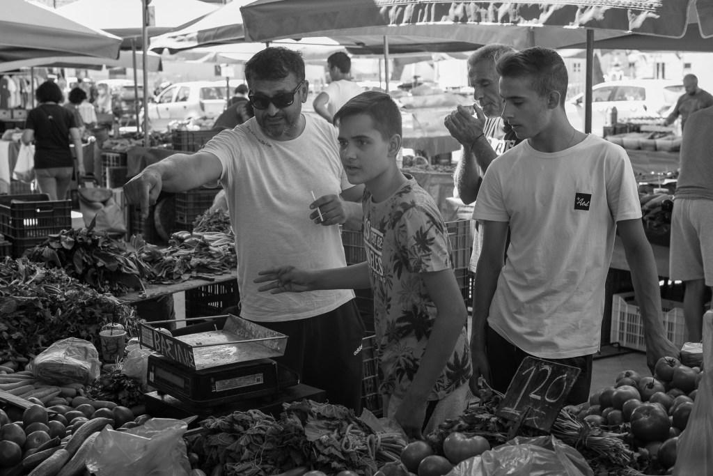 Vendors at a greek street market